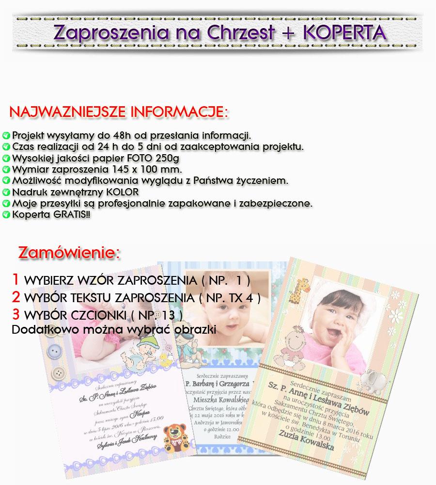 Zaproszenia Na Chrzest Roczek Ze Zdjęciem Gratis